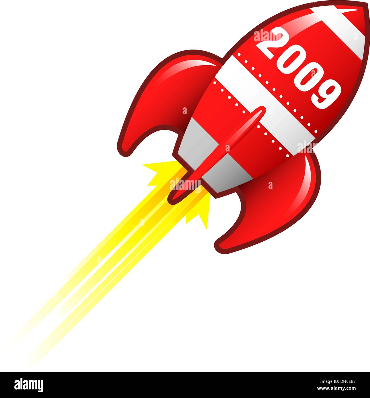 2009 retro rocket - Stock Vector
