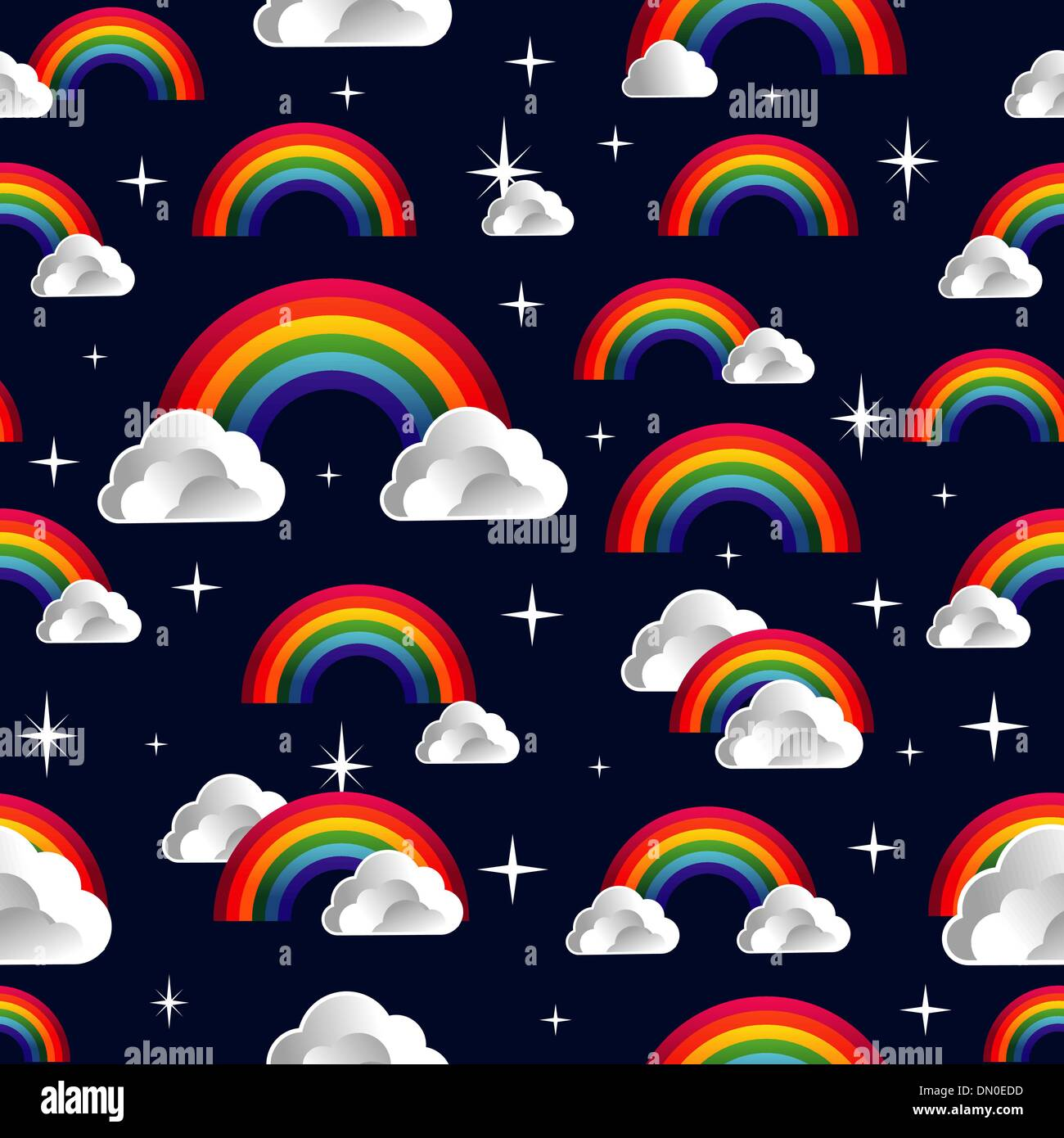 Rainbow with clouds cartoon seamless pattern Stock Vector