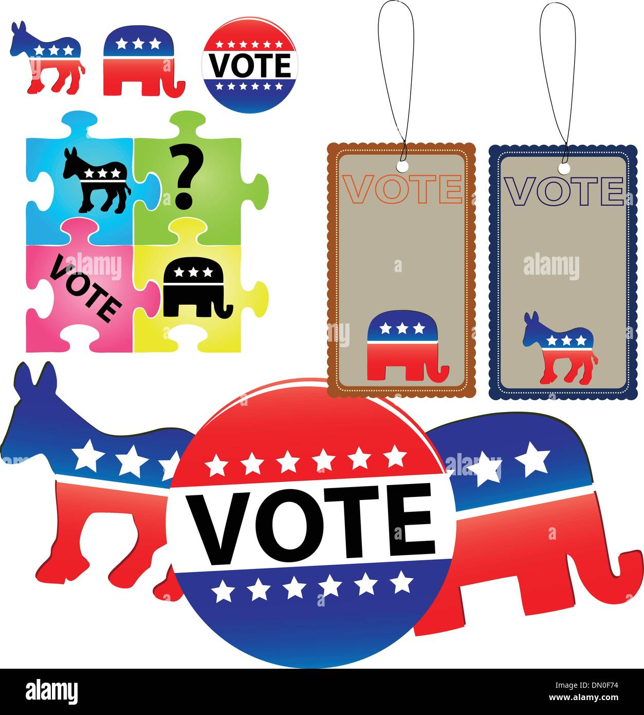 Election of Democrats and Republicans - Stock Image