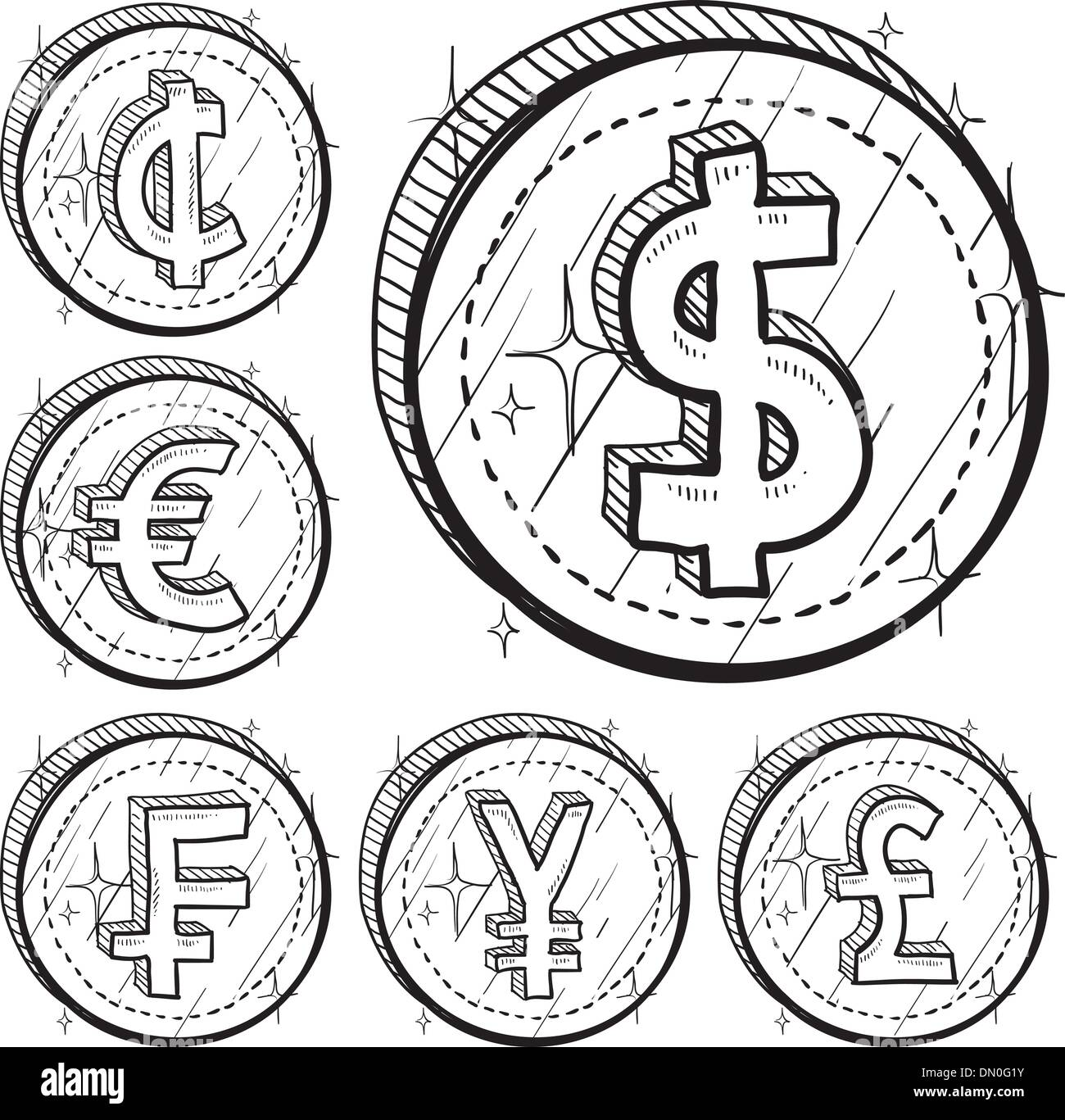 Cent Currency Value Sketch Stock Photos Cent Currency Value Sketch