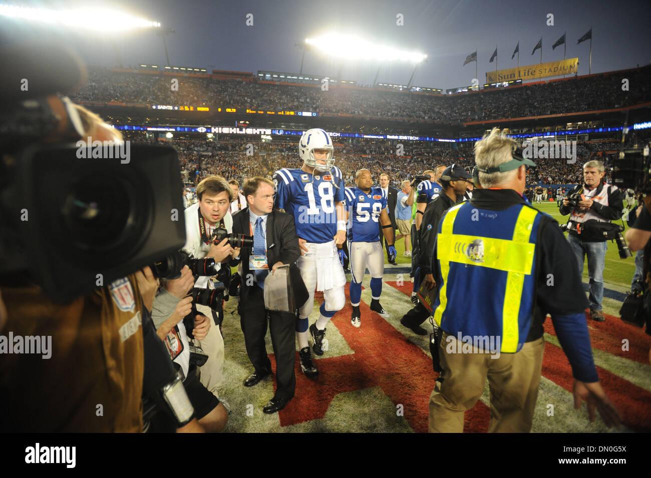 Feb 07, 2010 - Miami Gardens, Florida, USA - PEYTON MANNING waits for the pre-game coin flip at Super Bowl XLIV at Sun Life Stadium. (Credit Image: © Jim Rassol/Sun-Sentinel/ZUMApress.com) RESTRICTIONS: * U.S. Tabloids Rights OUT * - Stock Image