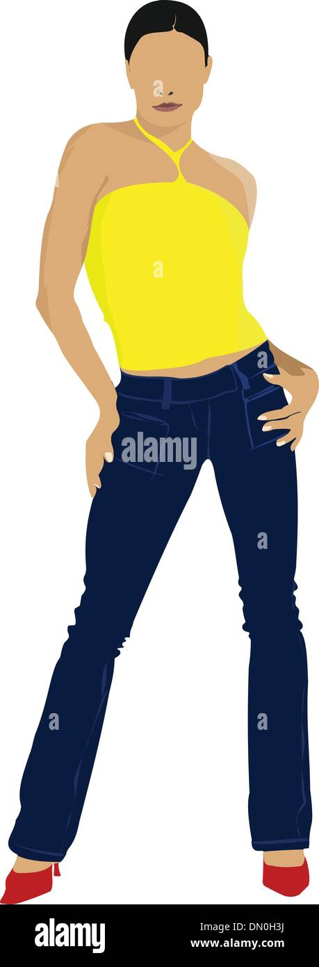 Young girl in yellow shirt. Colored Vector illustration Stock Vector