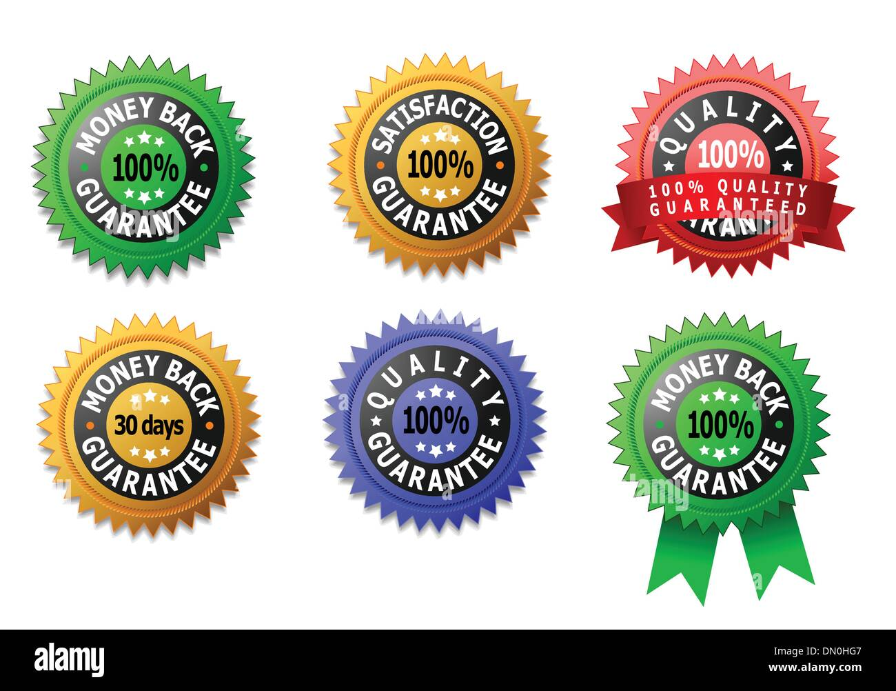 Vector labels for satisfaction, quality and money back guarantee - Stock Image