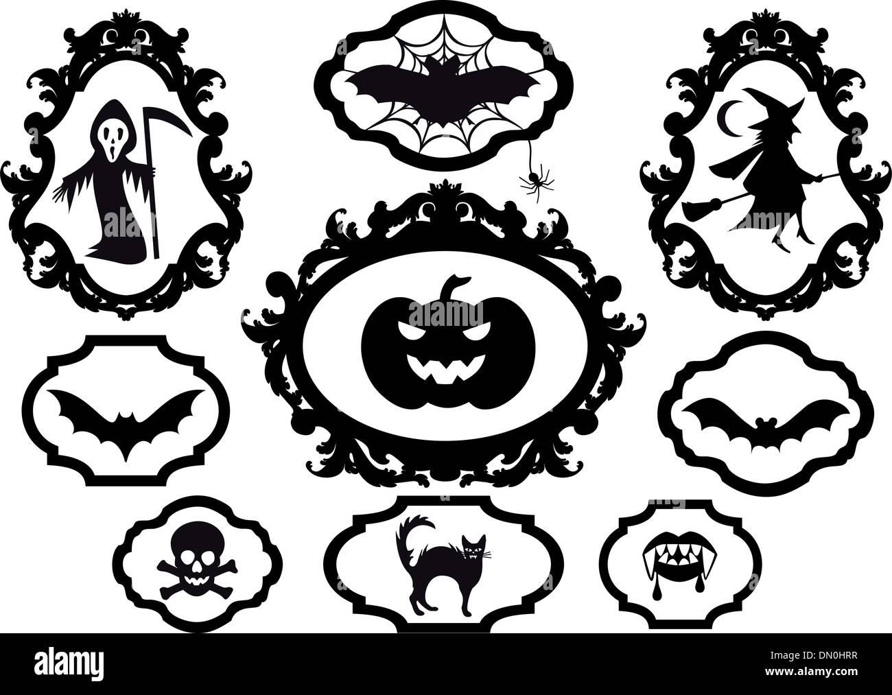 halloween frames vector stock vector art illustration vector