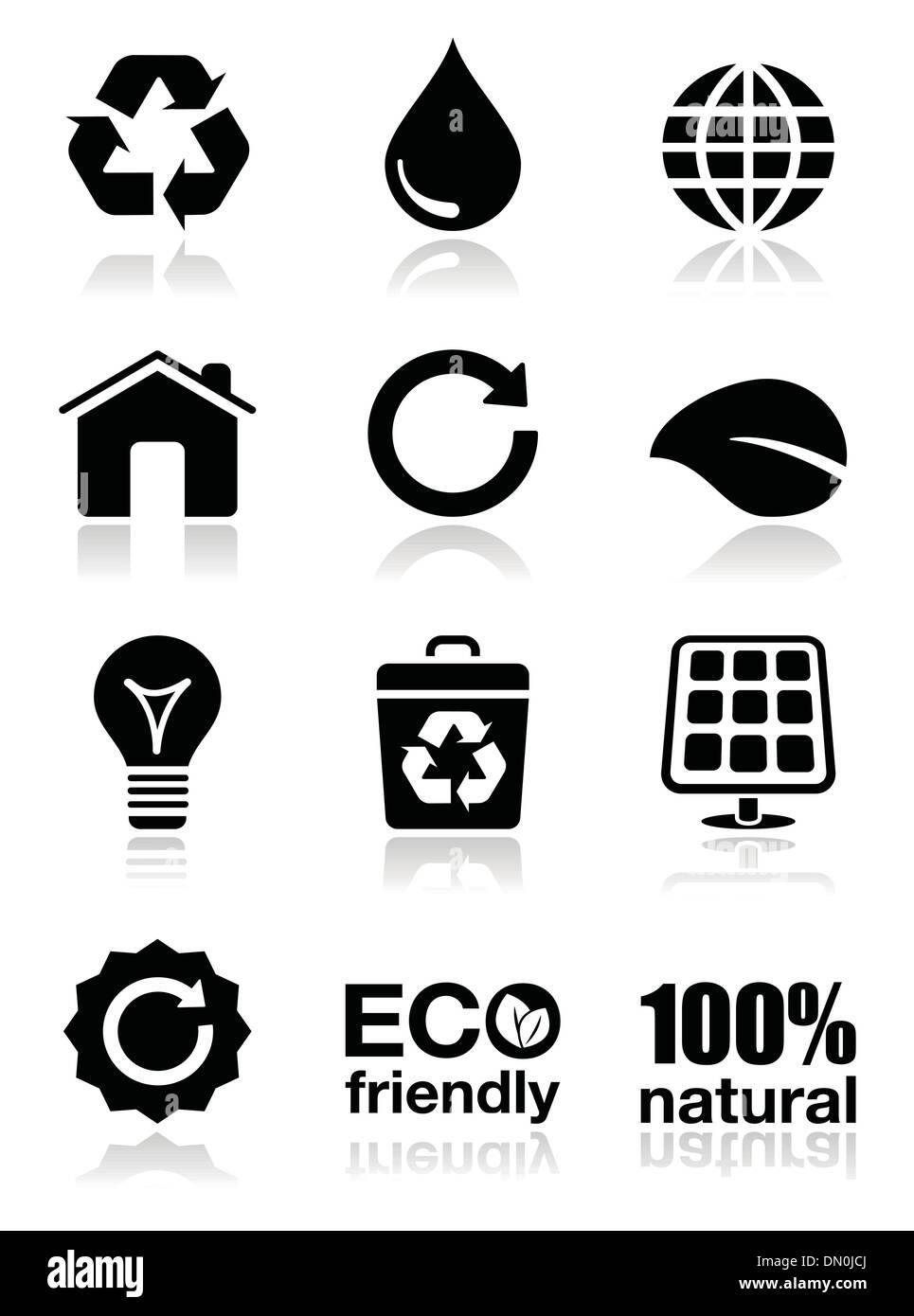 Green ecology icons set - Stock Image