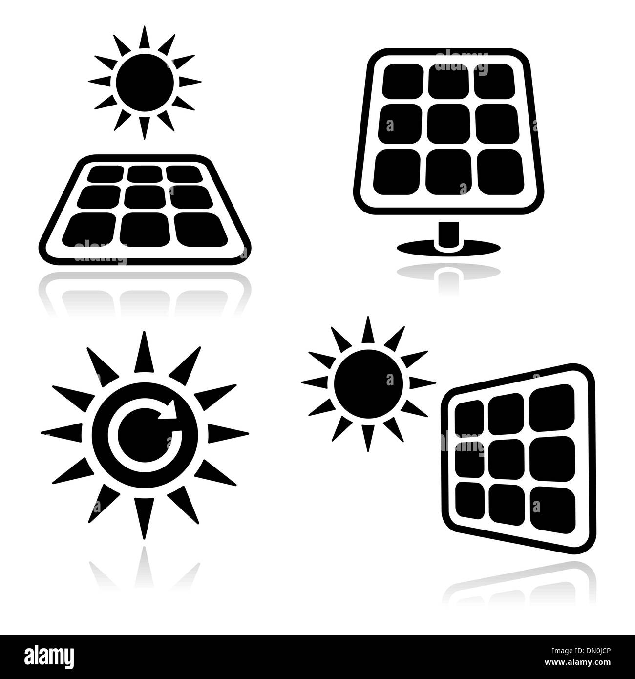 Solar panels clean black icons set - Stock Vector