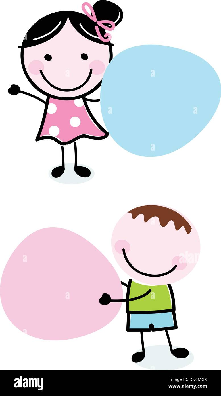doodle boy and girl holding blank banners stock vector art