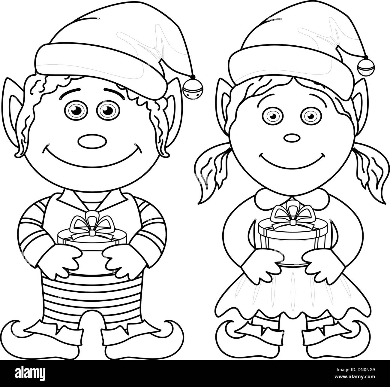 Elf Hat Drawing Black and White Stock Photos & Images - Alamy