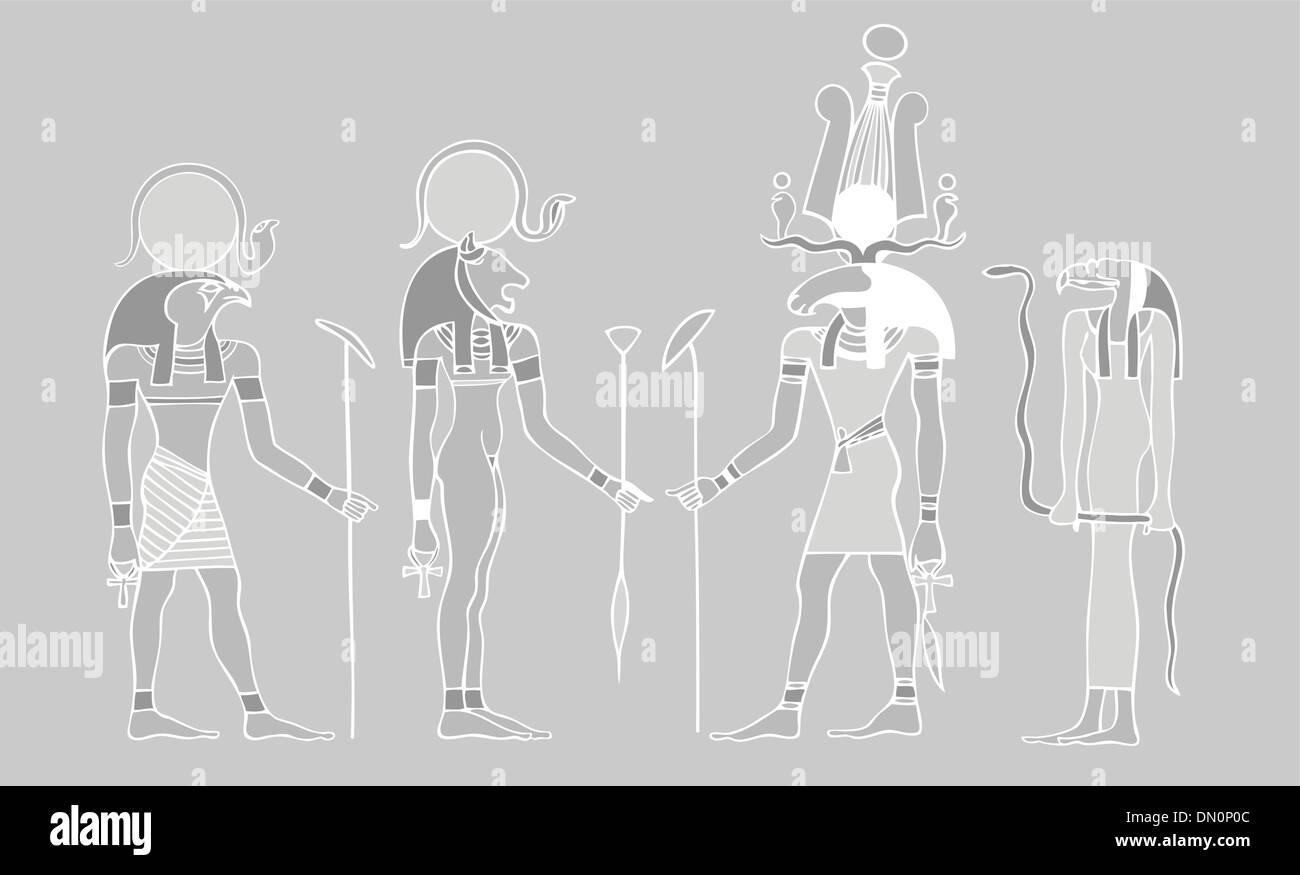 Egyptian gods and symbols - vector - Stock Image