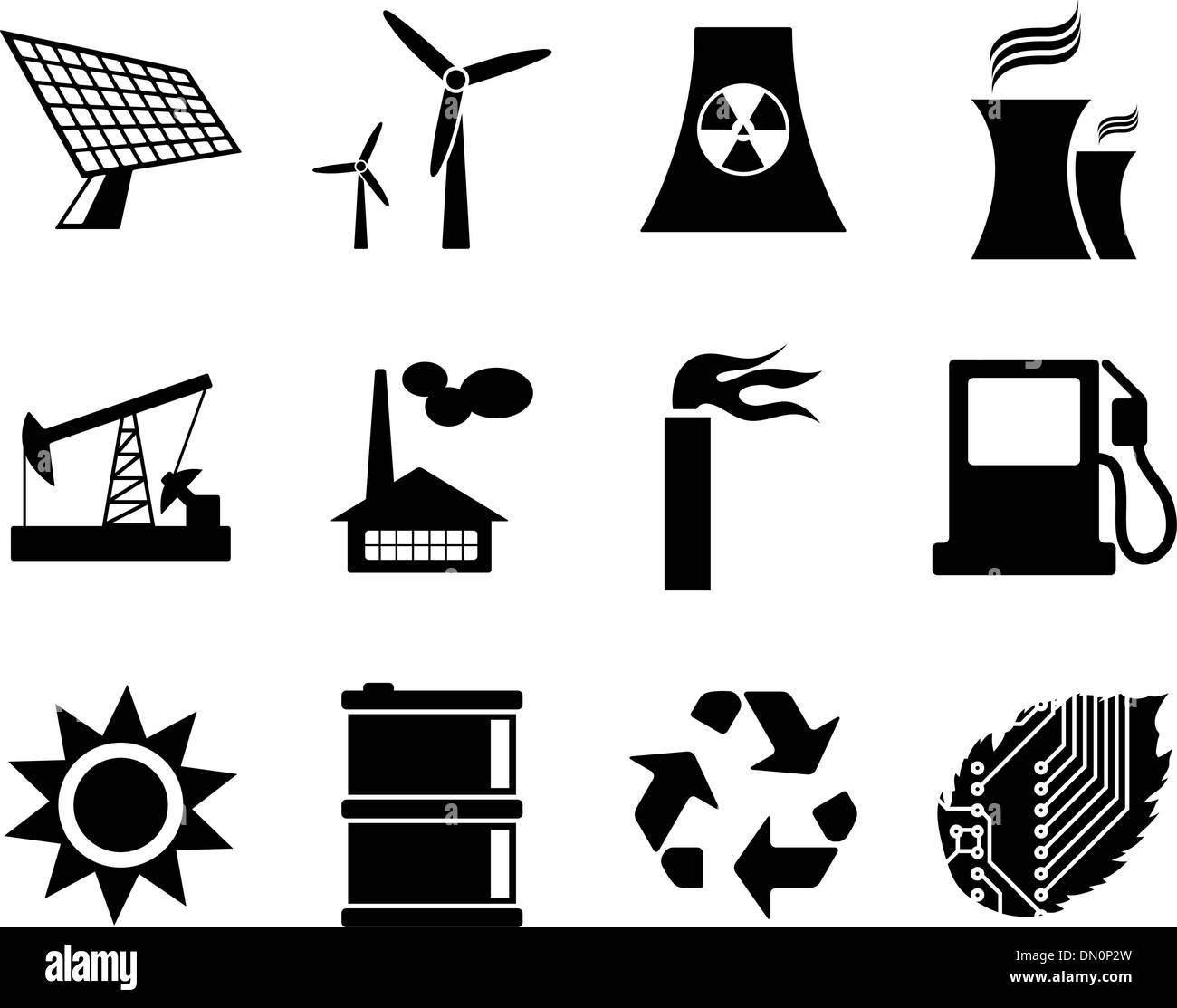 Electricity, power and energy icon set. - Stock Image