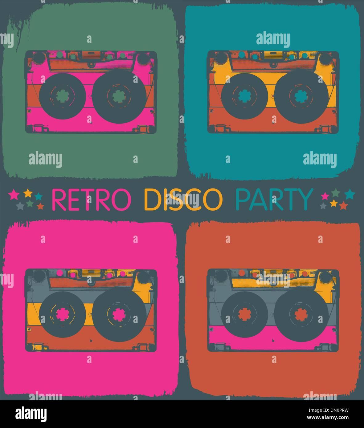 Retro disco party invitation in pop-art style. Vector, EPS8 - Stock Image