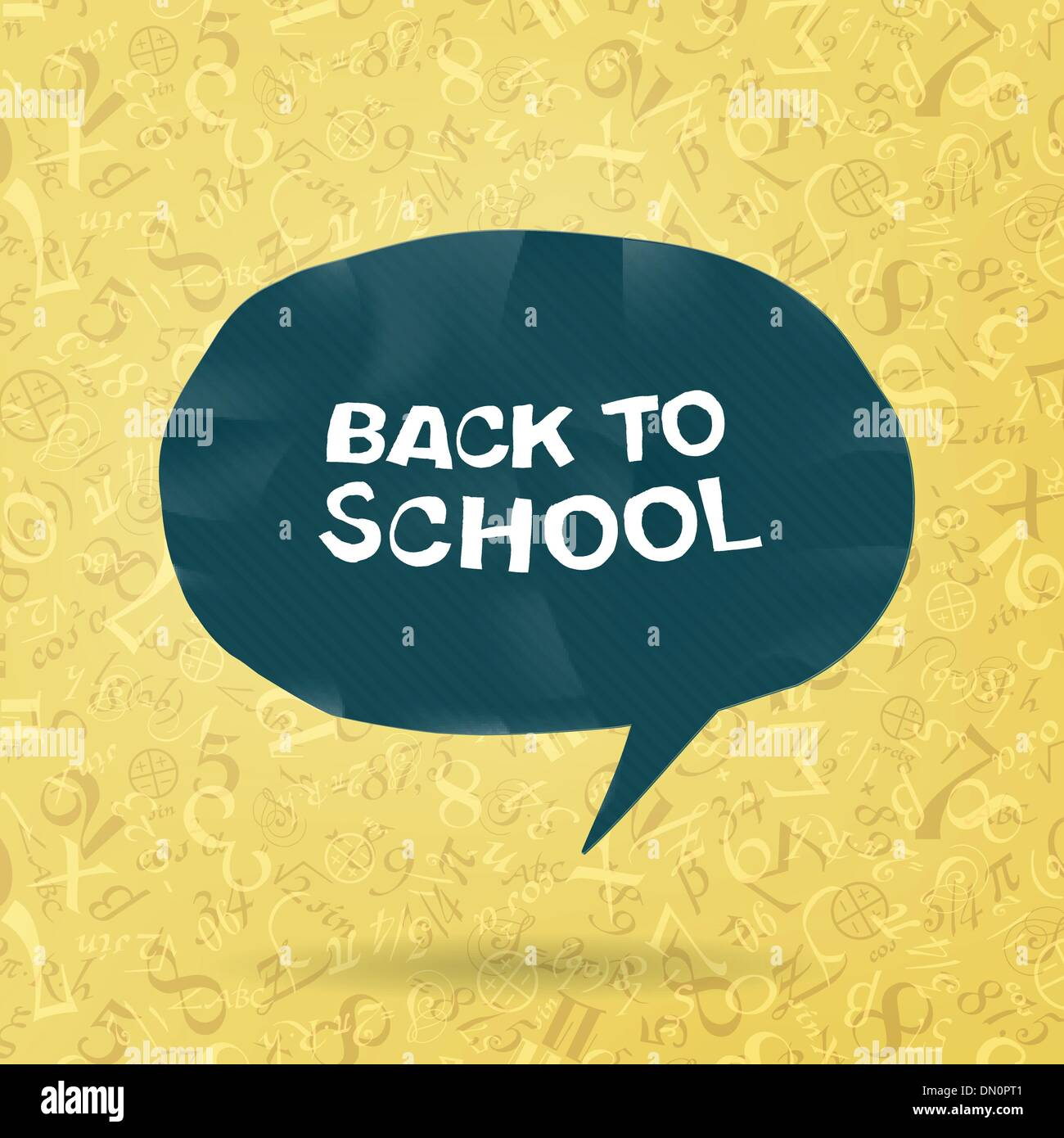 Back to school text in speech bubble on figures and formulas bac - Stock Image