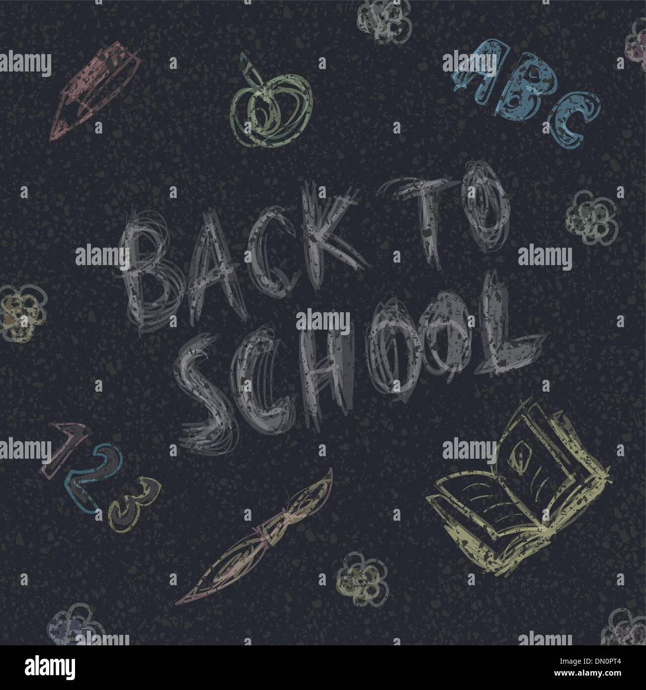 Back to school. Written by chalk on the asphalt background. Vect - Stock Image