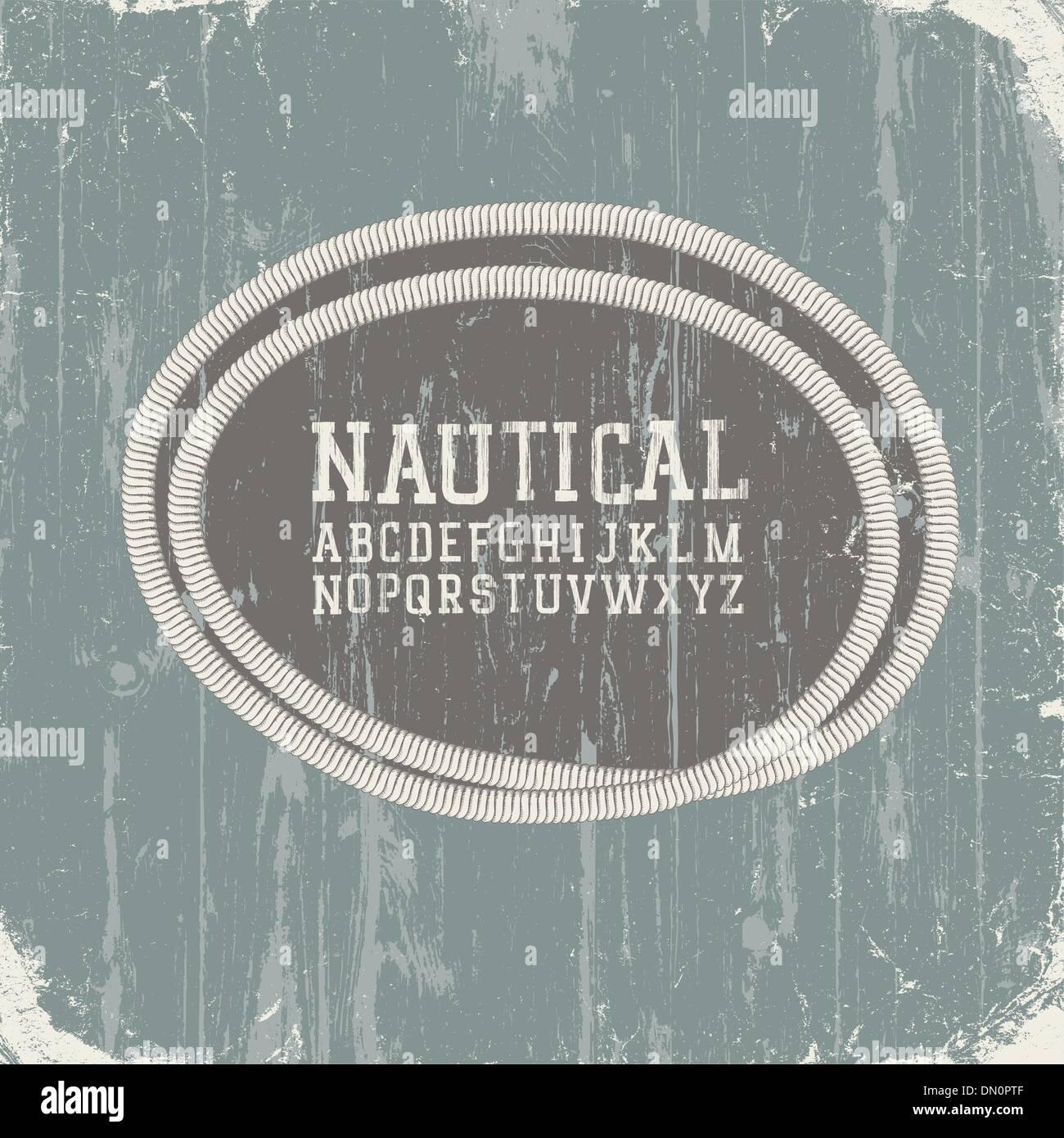 Vintage nautical card with retro alphabet. Vector, EPS8 Stock Vector