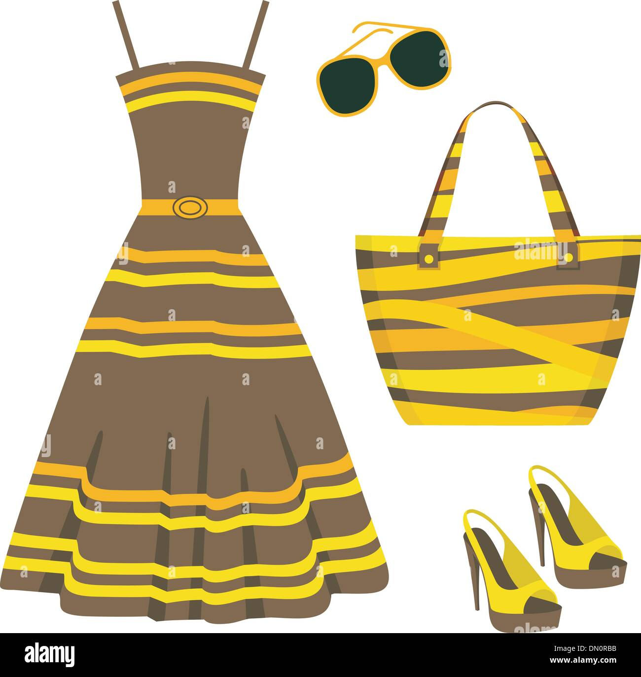 Summer set of clothes - Stock Vector