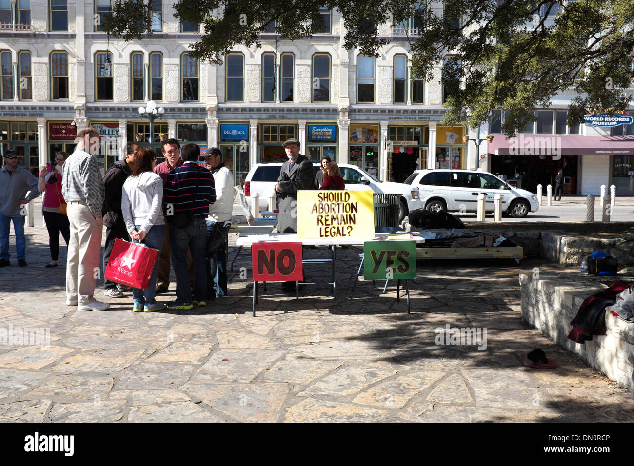 Anti abortion protest in front of the Alamo in San Antonio, Texas - Stock Image