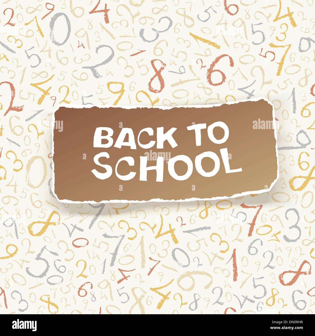 Back to school on chaotic numbers seamless pattern. Vector, EPS1 - Stock Image
