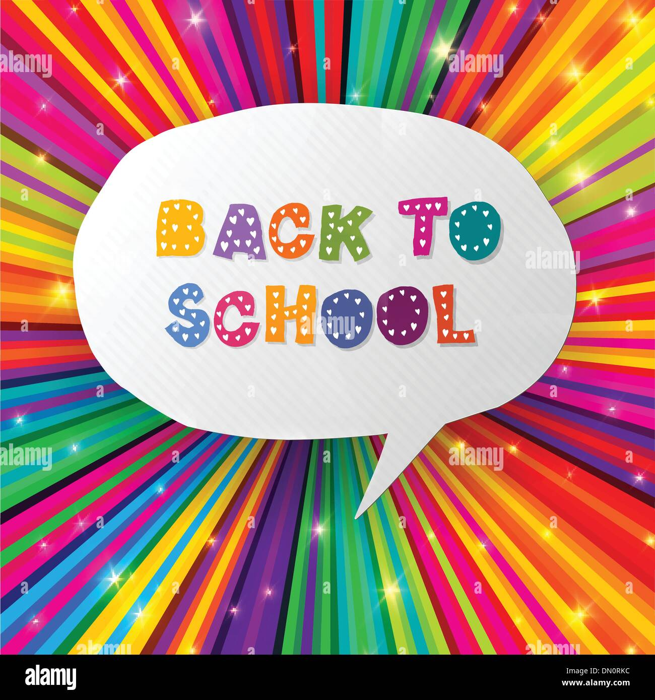 Back to school words in speech bubble on colorful rays. Vector i - Stock Image