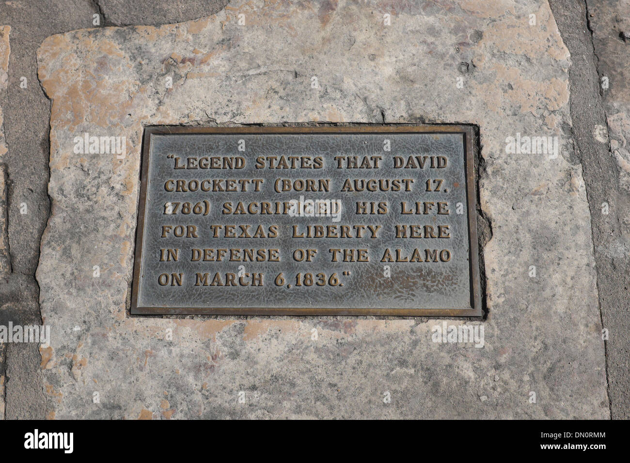 Plaque at Alamo indicating where David Crockett lost his life, March 6, 1836 - Stock Image