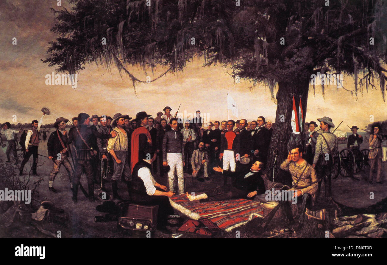 Mexican General Santa Anna surrenders to Texan Sam Houston at The Battle of San Jacinto -  21 April 1836 Stock Photo