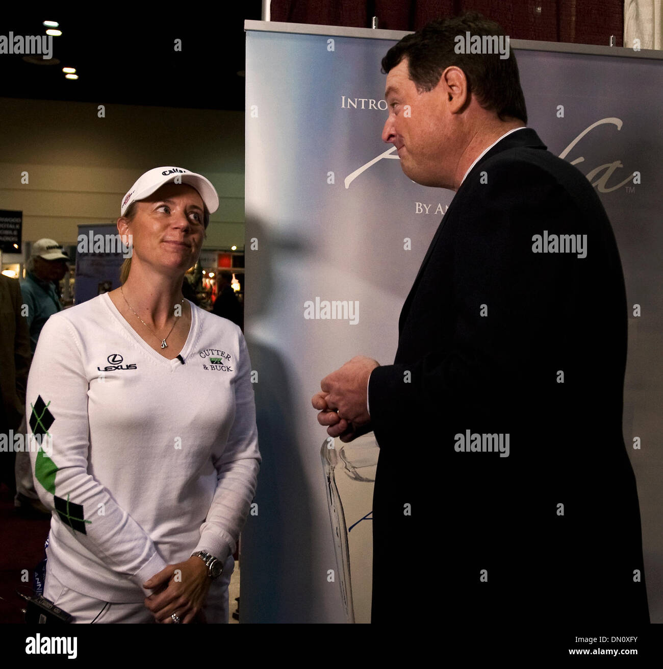 Jan. 28, 2010 - Orlando, Florida USA - New mom ANNIKA SORENSTAM gives the Golf Channel's CHARLIE RYMER a look after he asks her about changing diapers during an on-camera interview at the 57th PGA Merchandise Show. (Credit Image: © Brian Cahn/ZUMApress.com) - Stock Image