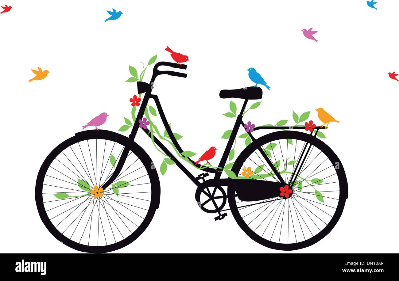 old bicycle with birds, vector - Stock Image
