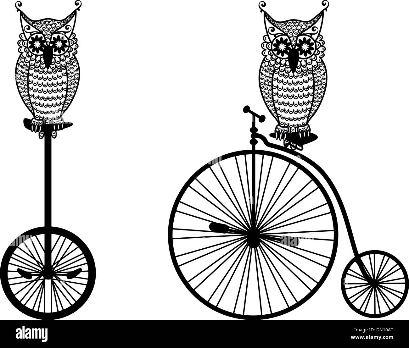 owls with old bicycle, vector - Stock Image