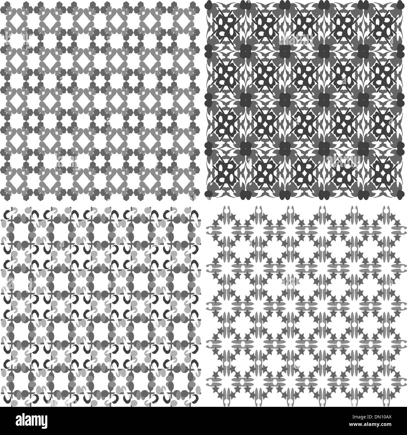 vector hand drawn seamless eastern floral patterns, monochrome - Stock Vector
