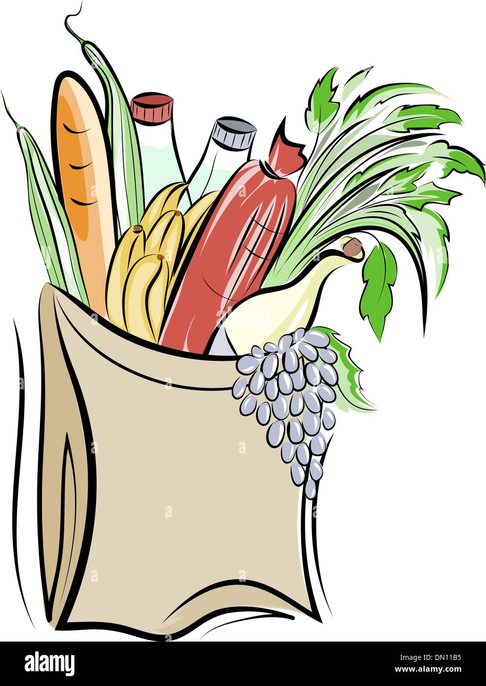 Paper bag with foods - Stock Vector