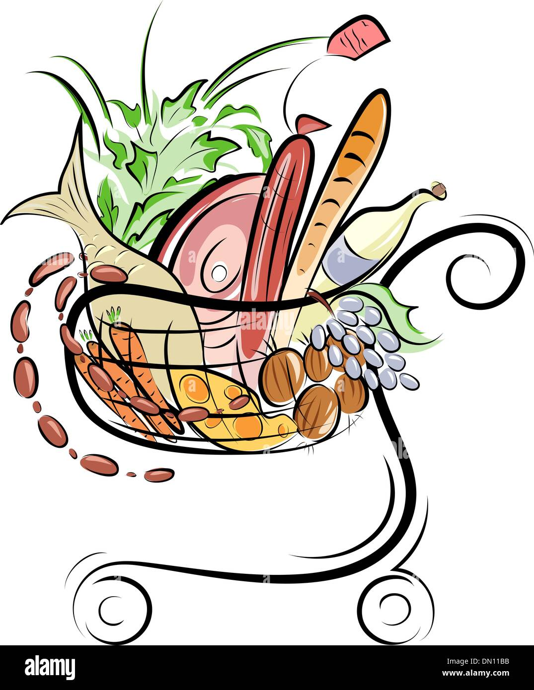 A Shopping cart with foods illustration - Stock Vector