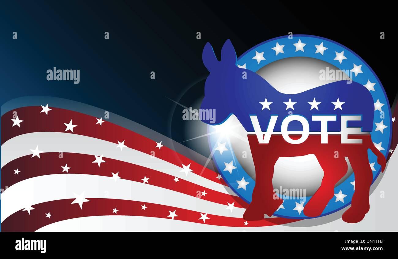 democratic donkey vector - Stock Image
