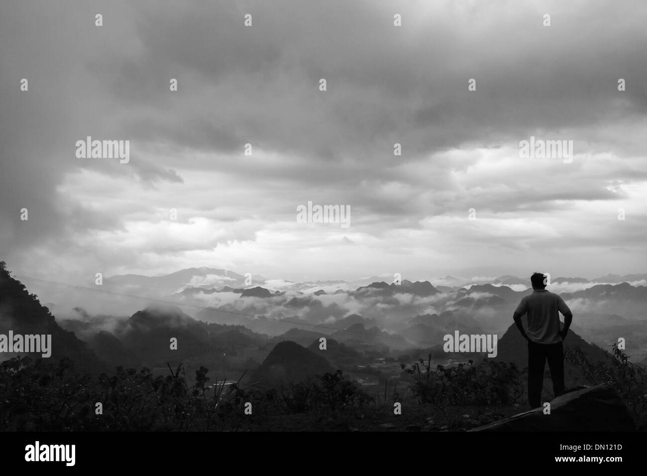 Mountain with clouds north vietnam hoa binh - Stock Image