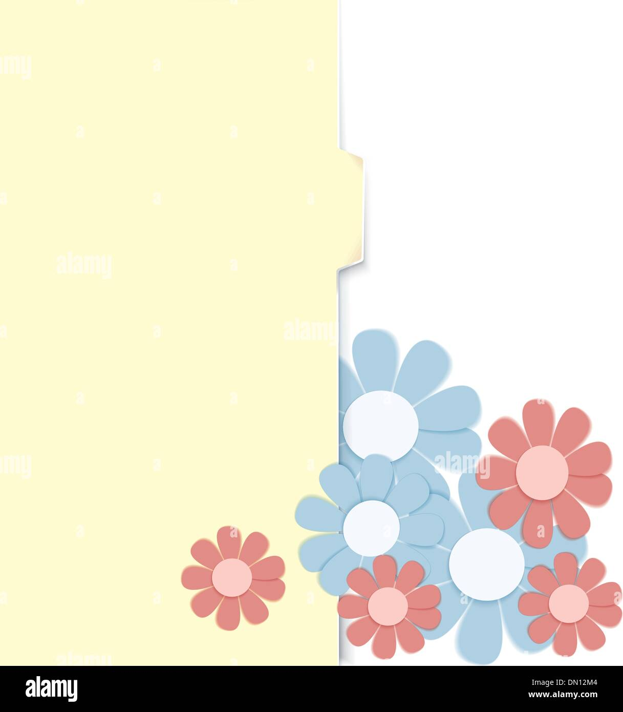 Folder with paper crafted flowers - Stock Image