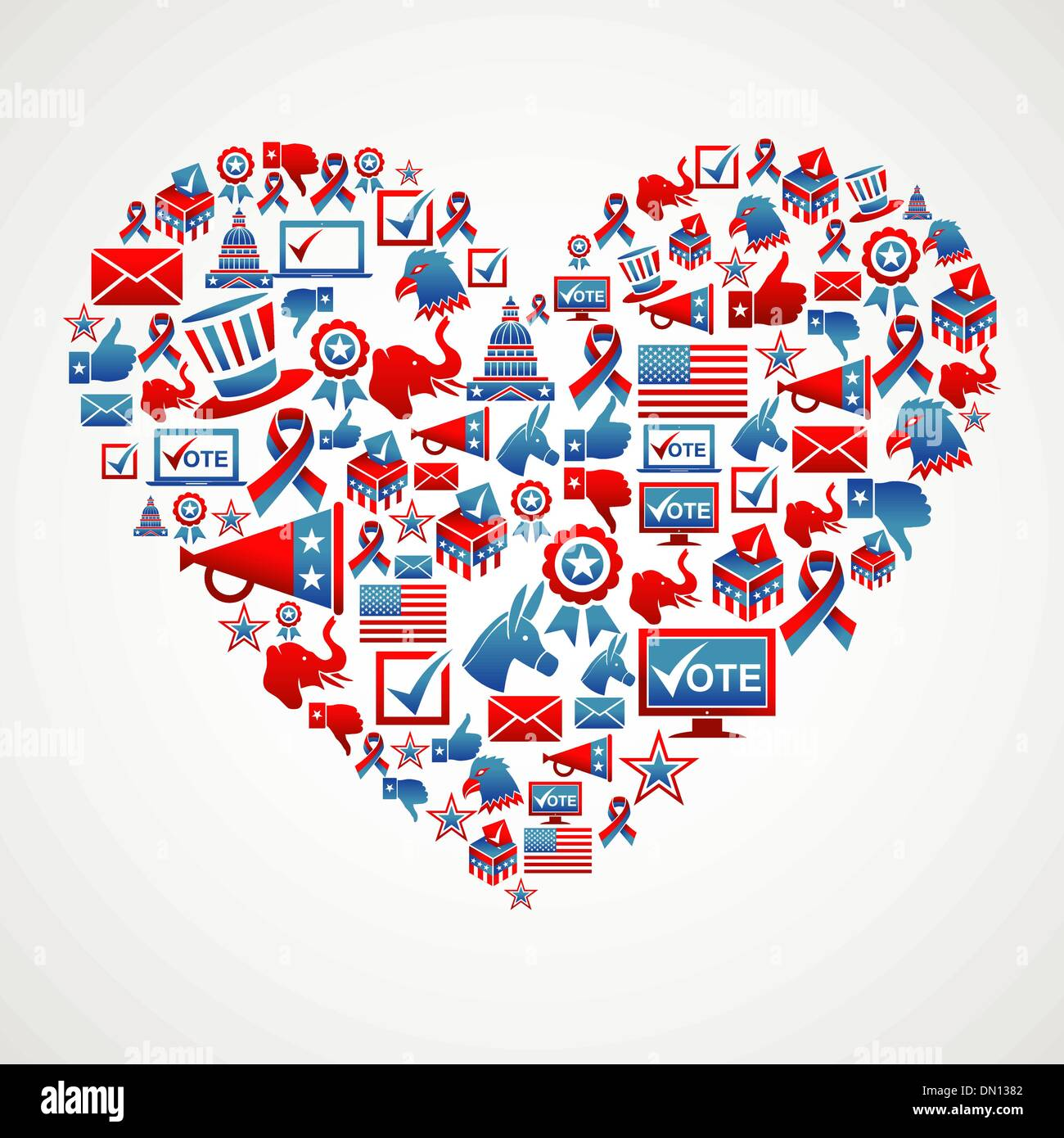 US elections icons heart shape - Stock Image