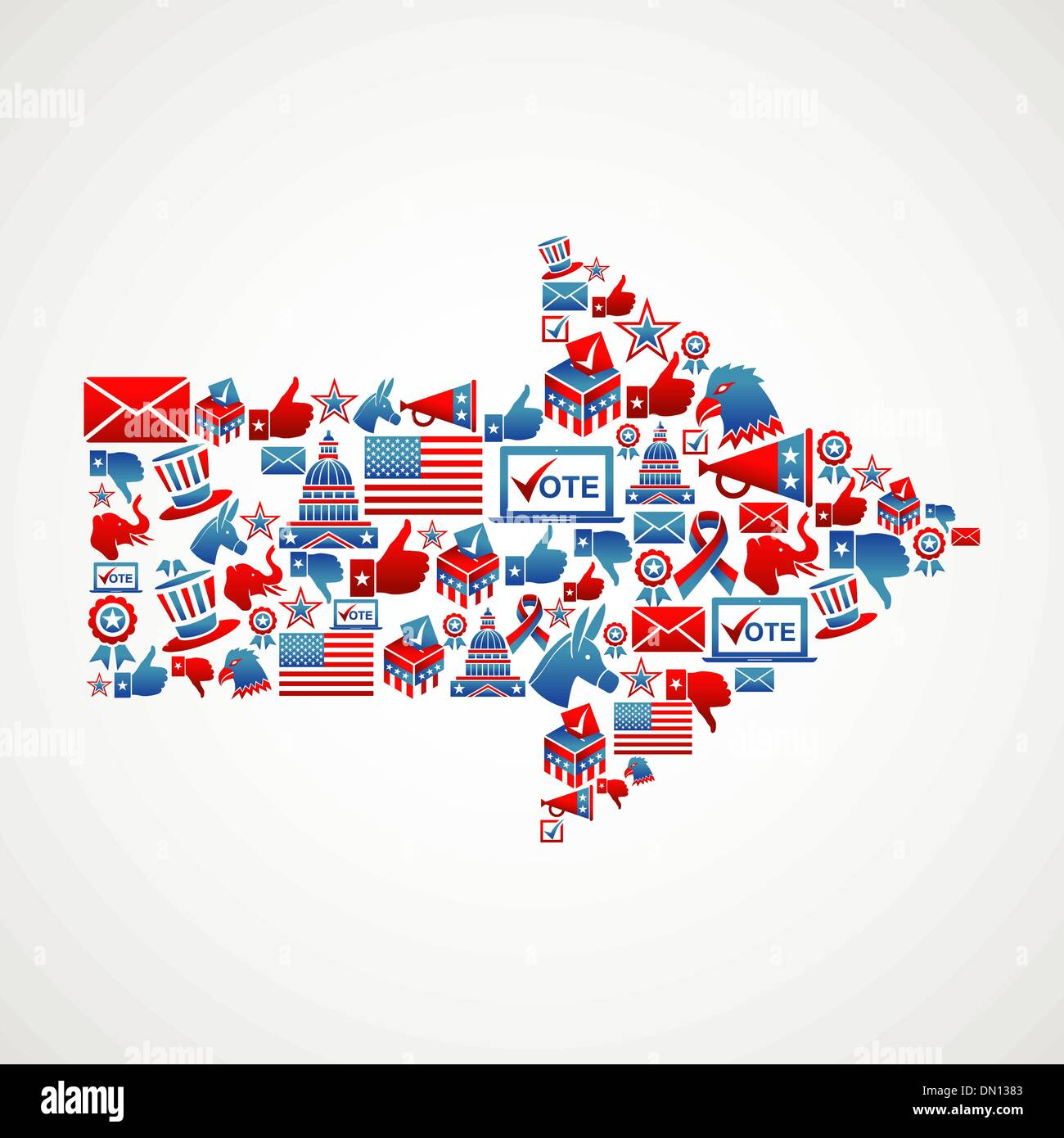 US elections icons in arrow shape - Stock Image