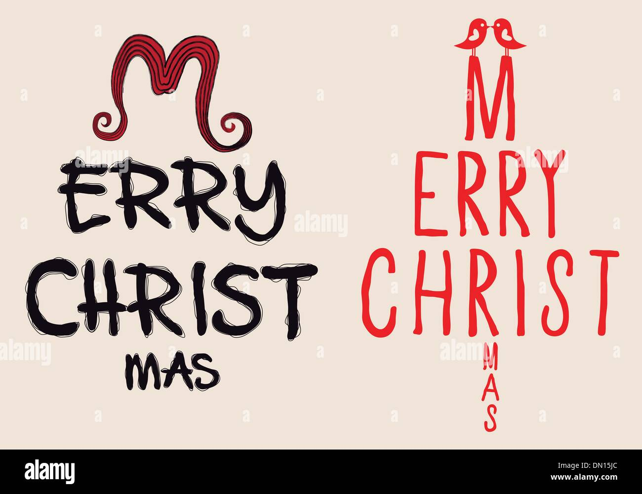 hand written Christmas card, vector - Stock Image
