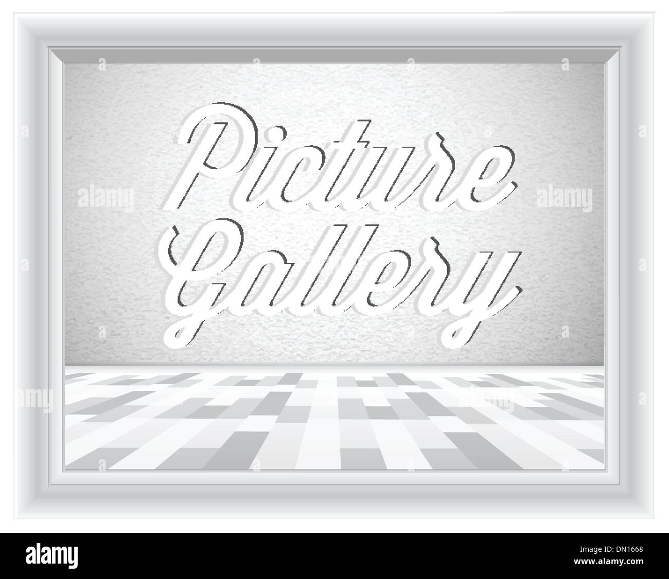 Empty gallery wall with frame - Stock Image