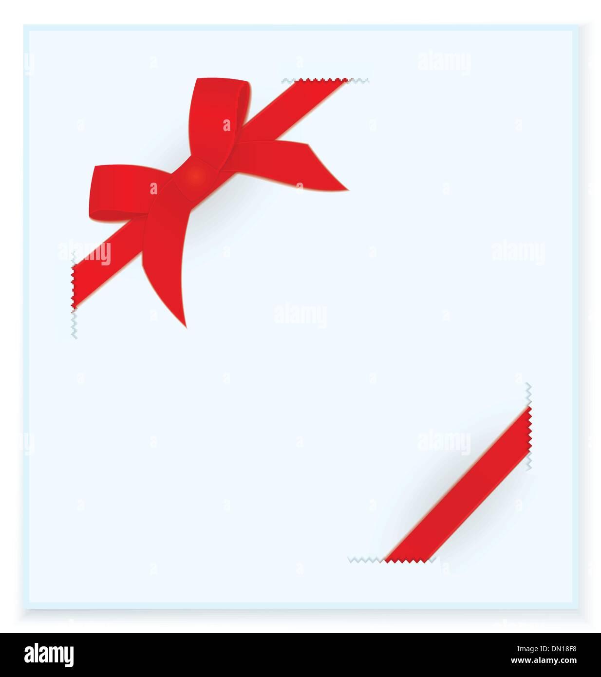 Ribbon bow blue card vector Stock Vector