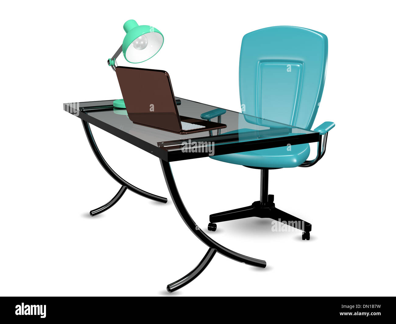 Awesome 3D Abstract Illustration Glass Office Desk And Chair Stock Download Free Architecture Designs Embacsunscenecom