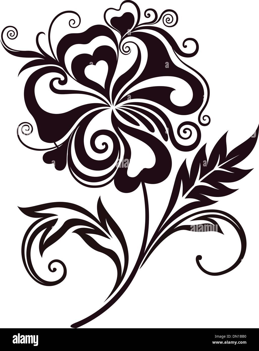 Abstract Flower Line Art Stock Vector Art Illustration