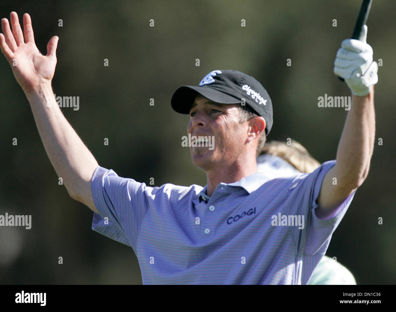 "Jan 29, 2006; La Jolla, CA, USA; GOLF: ""What's he doing?"" JONATHAN KAYE was distracted on his tee shot on 18 by Stock Photo"