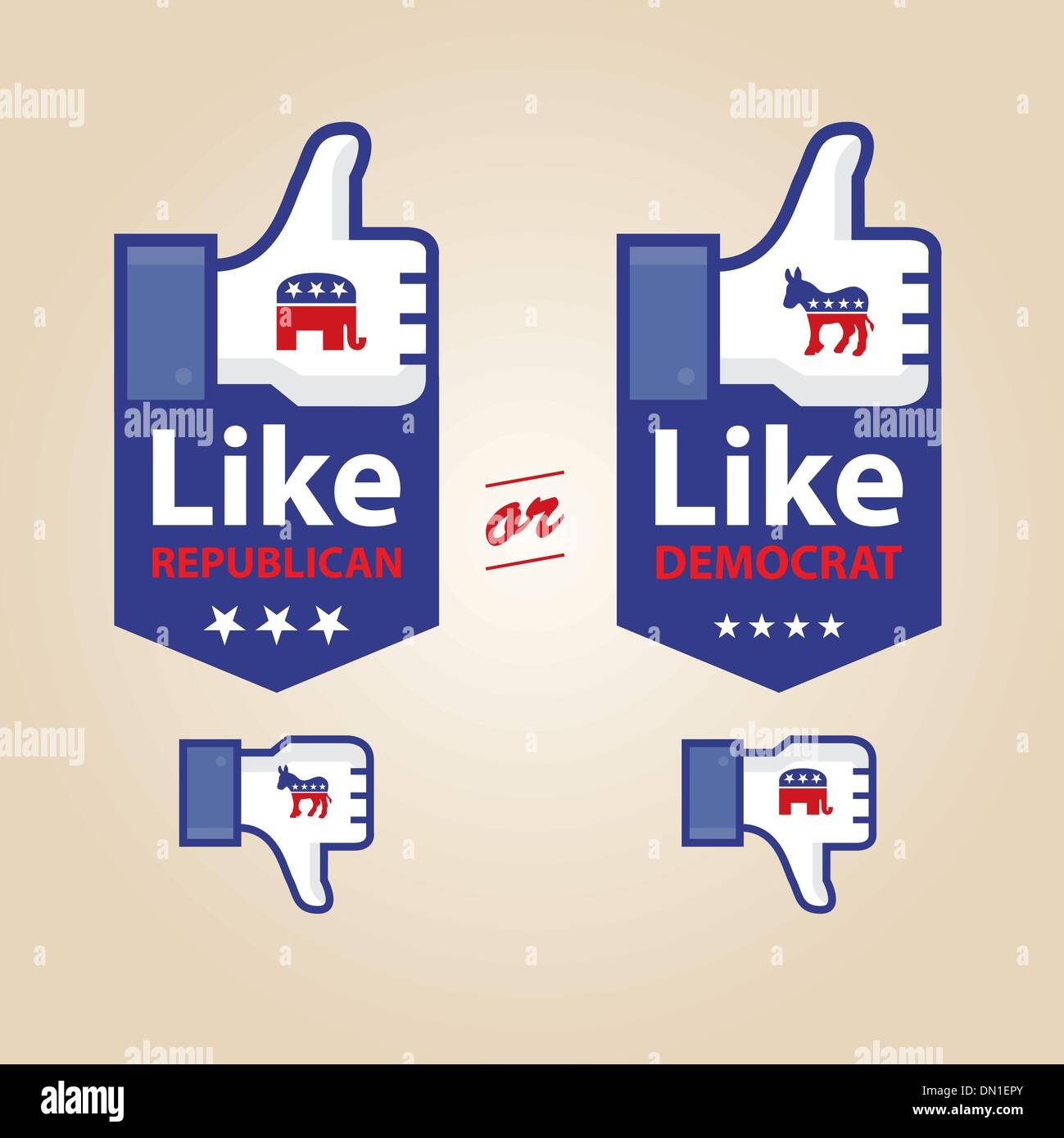 like republican or democrat for presidential election - Stock Image