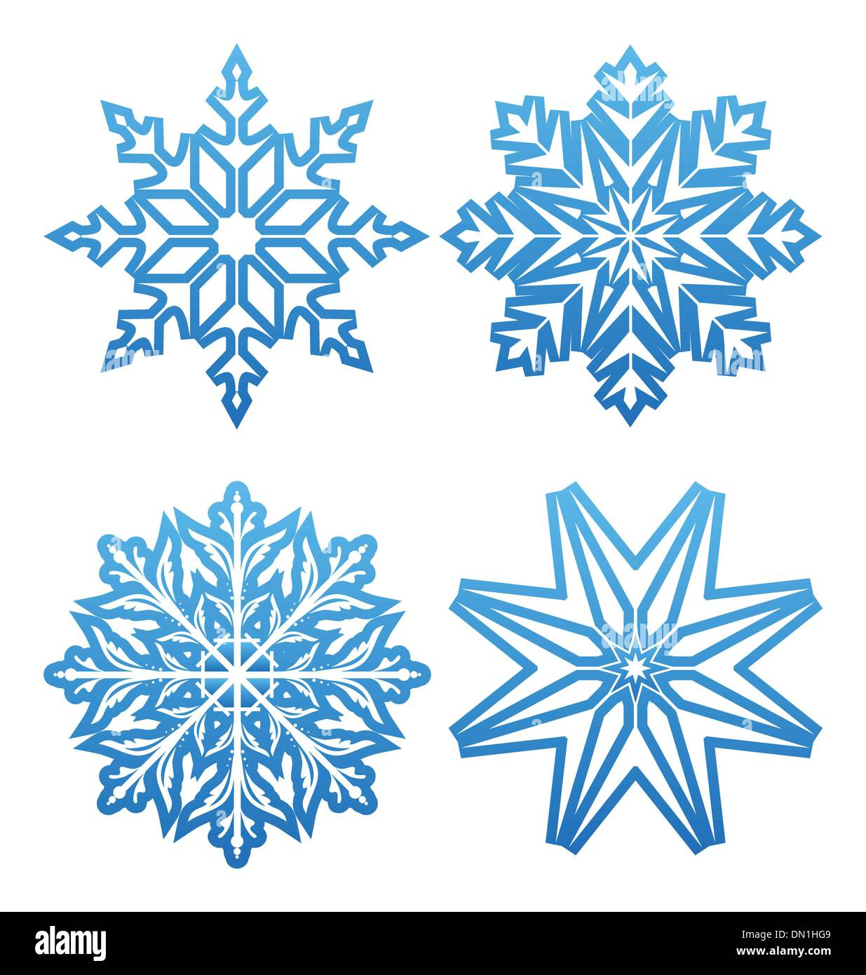 Set of variation snowflakes isolated - Stock Image
