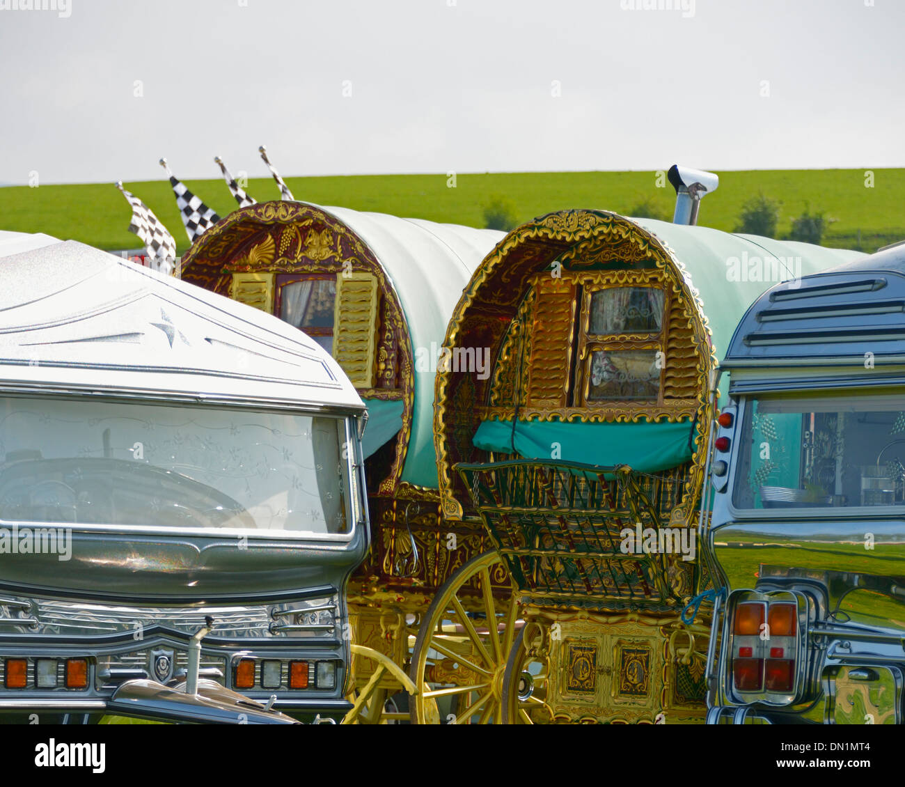 Gypsy traveller caravans. Appleby Horse Fair, June 2013. Appleby-in-Westmorland, Cumbria, England, United Kingdom, Europe. - Stock Image