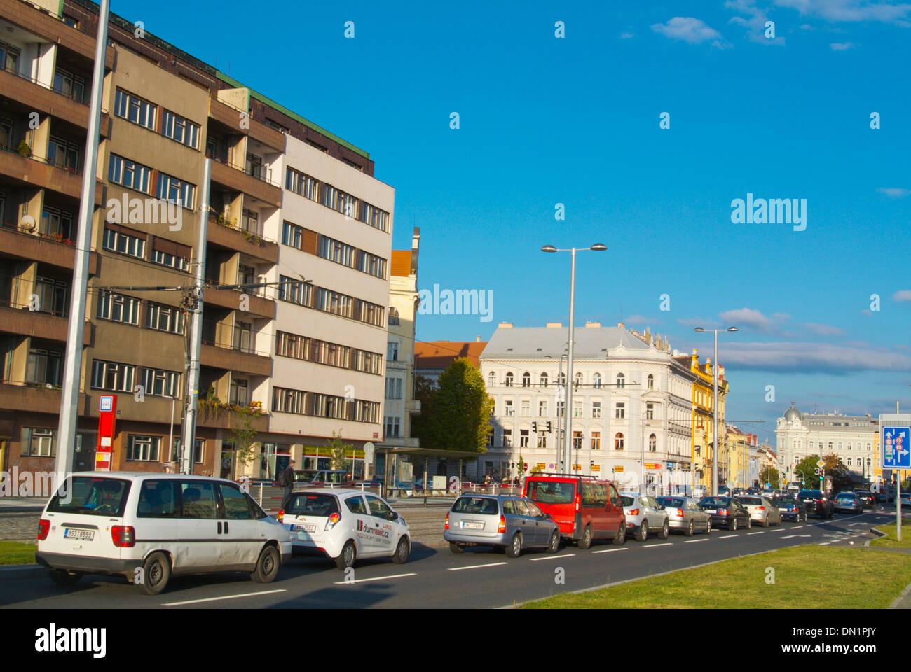 Cars in Milady Horakove street at Letenske namesti square Bubenec district Prague Czech Republic Europe - Stock Image