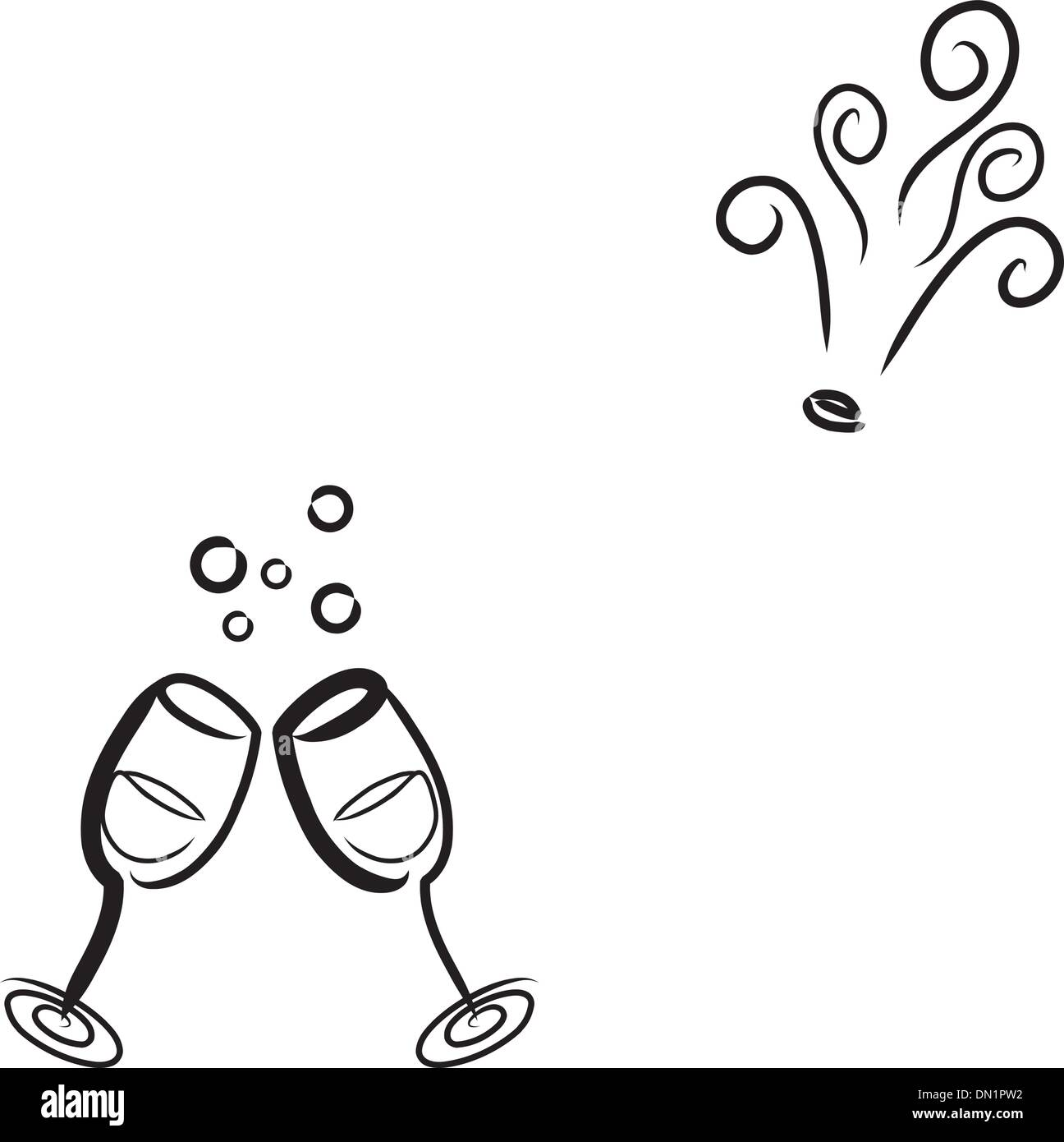 Champagne and Glasses - Stock Vector