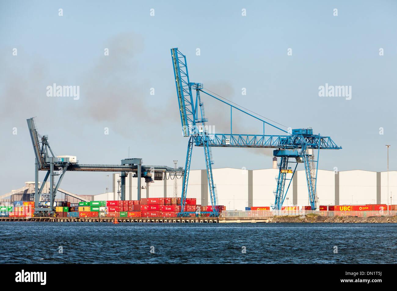 Dockside Cranes, River Tees,Teesside, England Stock Photo
