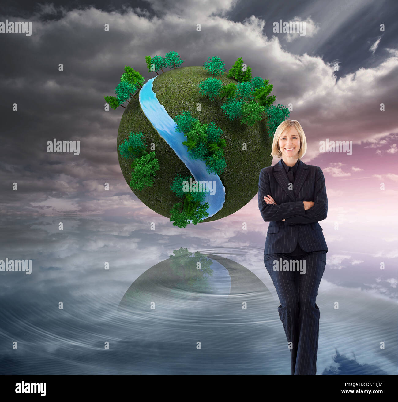 Composite image of friendly businesswoman smiling at the camera in a meeting Stock Photo
