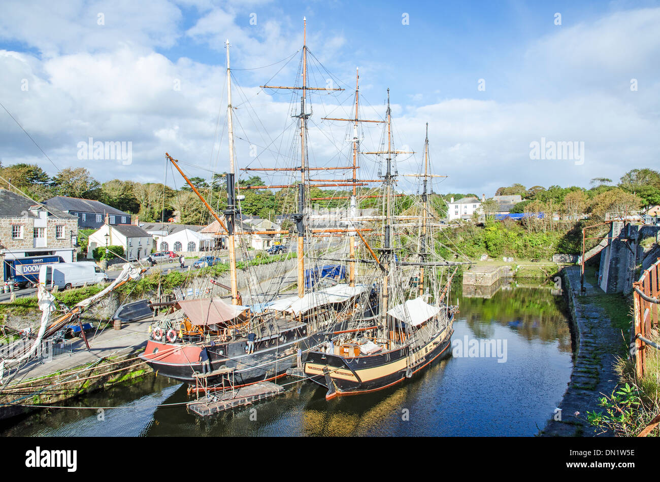 Tall ships in the Historic port of Charlestown, Cornwall, UK - Stock Image