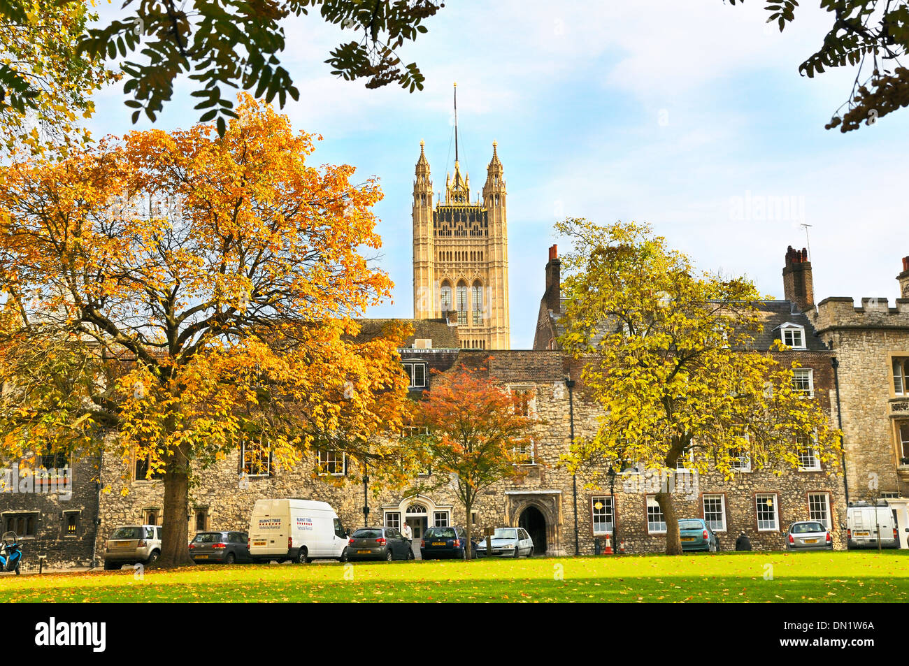 Victoria Tower at the Palace of Westminster seen from Dean's Yard, London, England, UK - Stock Image